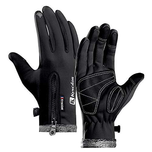 CHIRORO Touchscreen Handschuhe wasserdichte Fahrrad Handschuhe Winter Dicke Warme rutschfest Outdoor Sport Winterhandschuhe Winddicht Rutschfestes für Damen Herren,schwarz,L