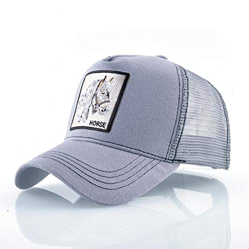 Gorras de béisbol de Moda Hombres Mujeres Snapback Hip Hop Sombrero Verano Malla Transpirable Sun Gorras Unisex Streetwear-Gray Horse