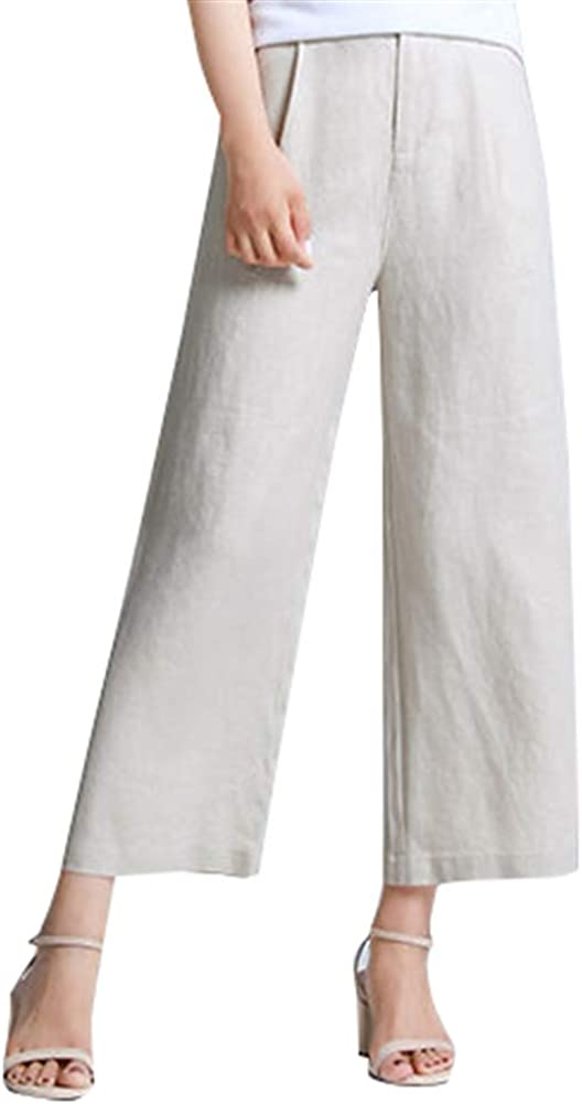 Oncefirst Women Linen Casual Pants Loose Capri Trousers Cropped Pants