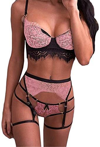 Sexoo Conjunto de Lencería para Mujer con Liguero Sexy Ropa Interior Camisón Babydoll Cuello V de Encaje Ropa de Dormir 3 Piezas