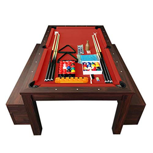 Mesa de billar de 7 pies color rojo Convertible con banquetes - Etna