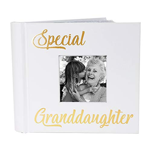 Happy Homewares Modern White Special Granddaughter Photo Album with Gold Foil Text - Holds 80 4x6 Pictures - Perfect Granddaughter Gift Idea