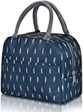 Oytra Small Insulated Thermal Lunch Bag Blue Leaves Size: 18 cm x 20 cm