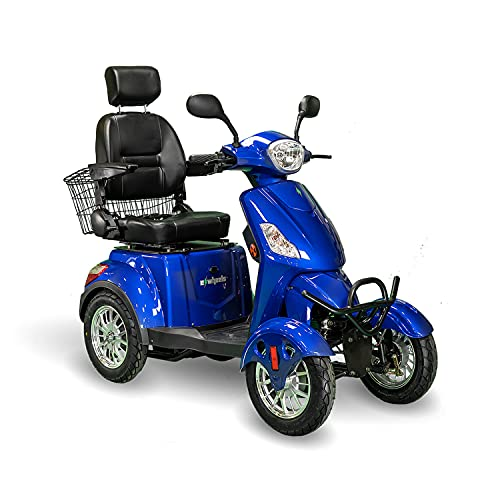 EWheels EW-46 4-Wheel 3-Speed Lightweight Travel Electric Battery-Powered Medical Mobility Scooter with Adjustable Seat and Rear Basket, Blue