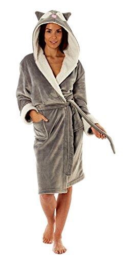 Ladies Soft Fleece Grey Robe with Novelty Owl Hood (Large)