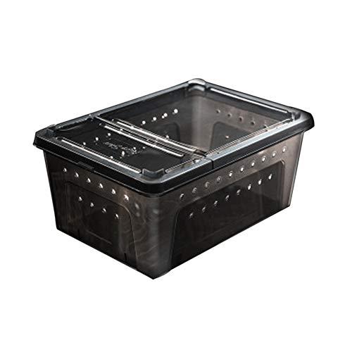 2Pcs Plastique Givré Reptile Alimentation Boîte Lizard Araignée Supplies Container D'incubation pour Animaux D'élevage Alimentation Box,Noir,M