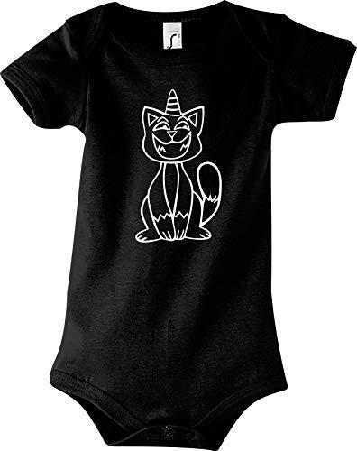 Shirtstown Body Bébé Drôle Animal Einhornkatze, Licorne, Chat - Noir, 18-24 Monate