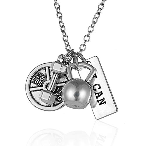 DTKJ Bodybuilding Necklaces&Pendants Dumbbell Sports 'i Can' Long Necklace Women Men Gym Necklace Party Gifts