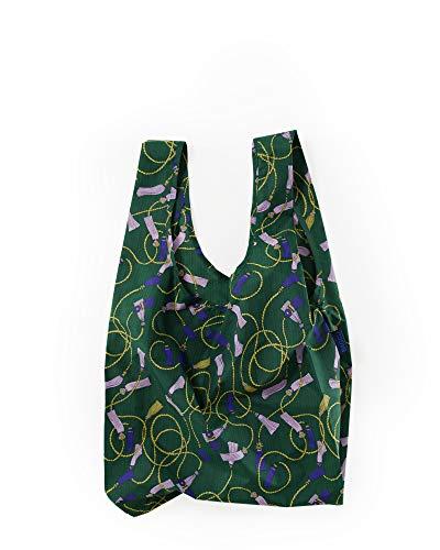 BAGGU Standard Reusable Shopping Bag, Ripstop Nylon Grocery Tote or Lunch Bag, Green Tassel