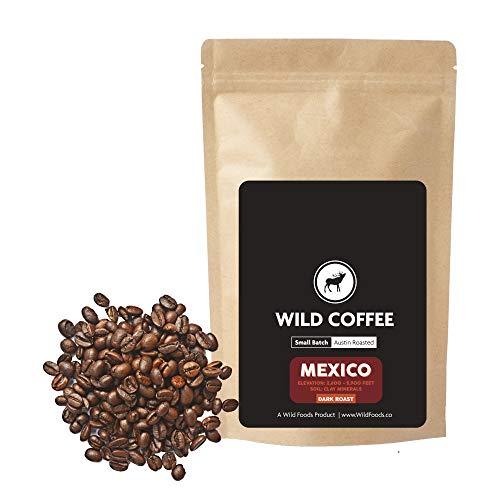 Wild Coffee, Whole Bean Naturally Grown Coffee, Fair Trade, Single-Origin, 100% Arabica, Austin Fresh Roasted (Mexico Dark Roast, 40 ounce - 2.5 pound)