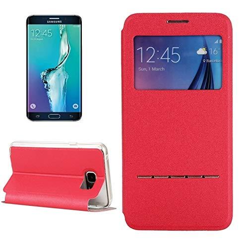 LLLi-ES Accesorios Móvil para Galaxy For Samsung Galaxy S6 Edge / G928 Funda de Cuero con Tapa Horizontal de Color sólido con Soporte y Ventana de identificación de Llamadas (Color : Red)
