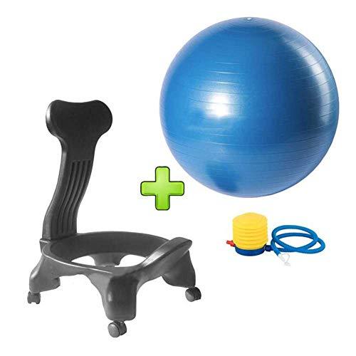 Fitness-Ballstuhl Für Kinder Erwachsene Teen Yoga-Ballstuhl Explosionsgeschützter Verdickter Heim- Und Bürostuhl Mit Rädern (Color : Blue, Size : 52 * 79cm)