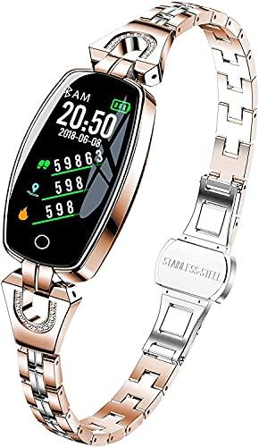 QHG Mujeres Smart Watch Slim Steel Band Fitness Tracker Tarifa cardíaca Pedómetro Calorías Distancia Distancia Sueño Monitor de Salud Reloj de Salud (Color : Rose Gold)