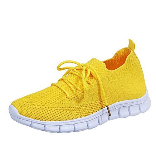 Orthopedic Walking Sandals, Mesh Slip On Air Cushion Garden Shoes, Summer Platform Mesh Mules Sneaker Sandals, Women's Breathable Casual Air Cushion Slip on(C41_Yellow,42)
