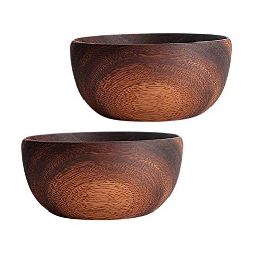 Hemoton - Juego de 2 cuencos redondos de madera para servir ensalada con una cuchara para arroz, sopa, nudos, la mezcla de crema, cereales, collaciones y cuencos (tamaño mediano)