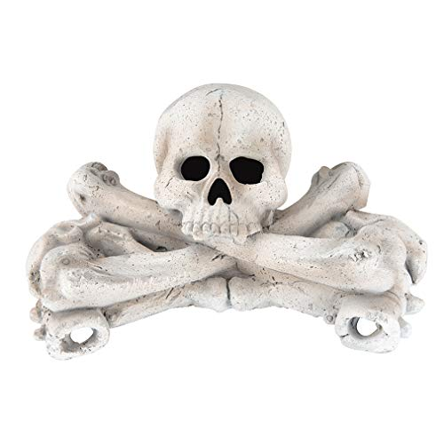 Stanbroil Imitated Human Skulls and Bones Gas Log for Indoor or Outdoor Fireplaces, Fire Pits, Halloween Decor, 1-Pack, White - Patent Pending