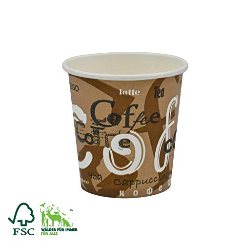 """Pack&Cup Bio Einweg Kaffeebecher Pappbecher für Heißgetränke """"Coffee"""" 100 ml 1000 Stück"""