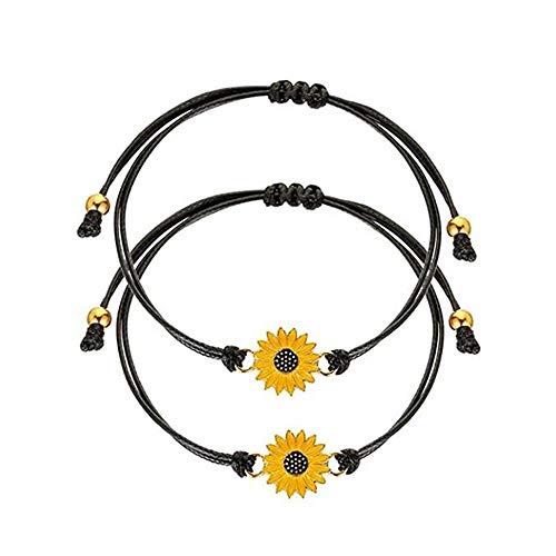 Handmade Sunflower bracelet Adjustable 2 pcs with Paper jam cuff Jewelry for women