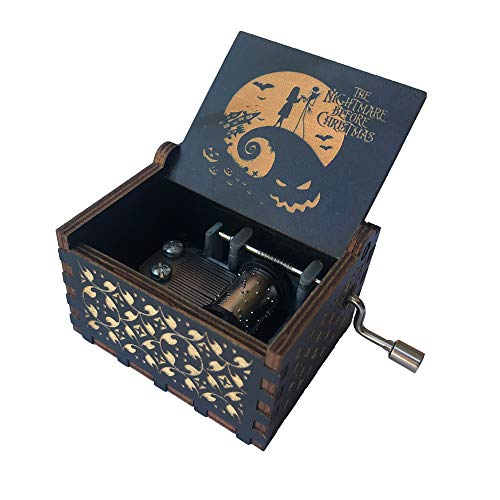 SIQI The Nightmare Before Christmas Wood Music Box - This is Halloween Mini Musical Box 18 Note Hand Crank Musical Gifts for Birthday Anniversary Mother's Day Christmas (Black-Yellow)