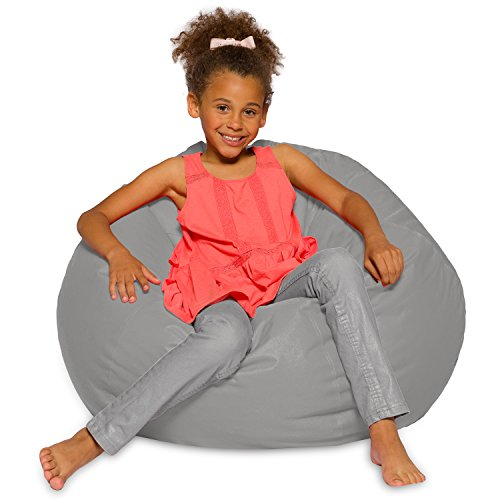 Posh Beanbags Big Comfy Bean Bag Posh Large Beanbag Chairs with Removable Cover for Kids, Teens and Adults Polyester Cloth Puff Sack Lounger Furniture for All Ages, 27in, Solid Gray