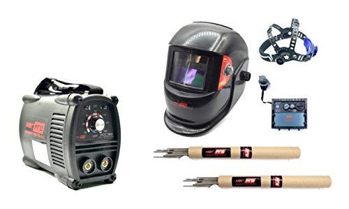 HERPRO Mini Soldador Inverter ROC 160I, 160 Amperios al 60%, ANTI STICK, ARC FORCE, HOT START, EMC, Electrodos de 1,6mm a 4,00mm Valido con Generador, PANTALLA DE SOLDAR AUTOMATICA Y ELECTRODOS