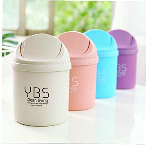 Plastic Small Waste Bin Trash Can Desktop Trash Basket Table Home Office Trash Can Household Cleaning Tools with Lid(Random Color)