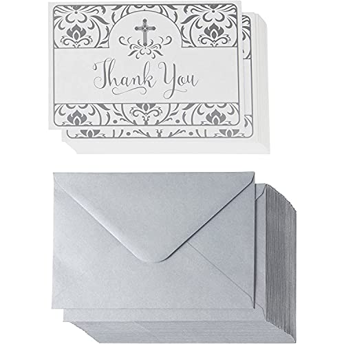Thank You Postcard Set with Envelopes, Religious Greeting Cards, Floral Design (48 Pack)