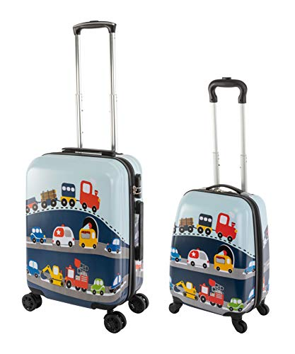Travelhouse Happy CHILDREEN - Trolley da viaggio per bambini, disponibile in diverse misure e colori, Auto (Multicolore) - TRAVELHOUSE-D8-SL