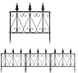 <span class='highlight'><span class='highlight'>COSTWAY</span></span> Decorative Garden Fence, Coated Rustproof Metal Fencing Panels, Outdoor Folding Animal Pets Barrier Border Edging Fence Gates for Patio Backyard (24in X 8ft, Black)