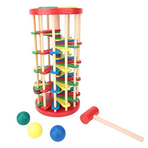 Gioco da Tavolo Classico, Pound And Roll Giocattolo a Torre in Legno con Martello Colore Brillante Batti La Palla Fuori dal Gioco per Il Tempo Libero della Scala