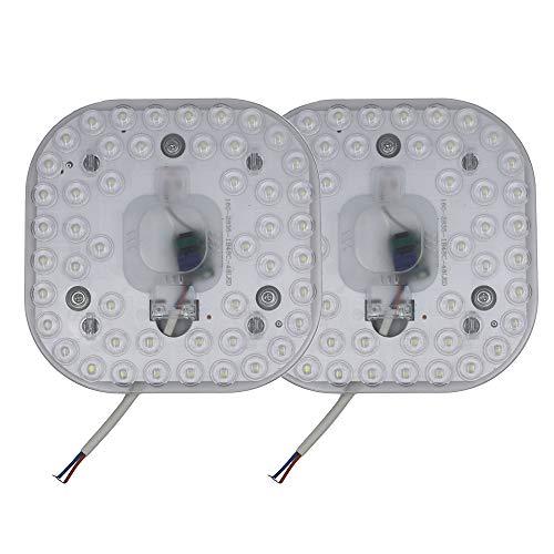 Pack de 2 módulos de reequipamiento LED con soporte magnético, 24 W, 6500 K blanco frío, 158 x 158 mm, 2200 lúmenes, CA 165 – 265 V, listo para conectar para lámpara de techo, no regulable