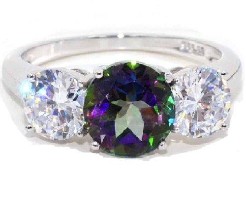 Elizabeth Jewelry - Sterling-Silber 925 Silber Rund Mystik-Topas