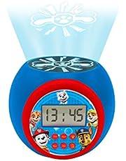 Lexibook- Reloj Despertador fútbol con proyector, función de repetición y Alarma, luz Nocturna con Temporizador, Pantalla LCD, batería, Blanco/Negro, Color