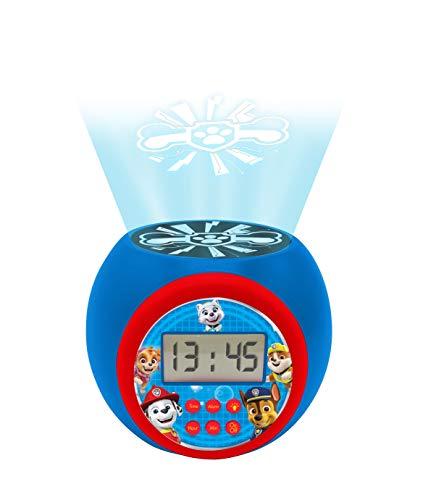 Sveglia con proiettore Paw Patrol Marshall, Rubble, Chase, Stella ed Everest con snooze funzione , luce notturna con timer, schermo LCD, a batteria, blu / rosso, RL977PA