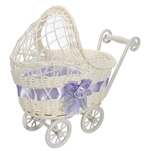 1 Stuk Rieten mand Baby Carriage mand Bloem Vaas Opbergdoos Baby Douche Party Gift
