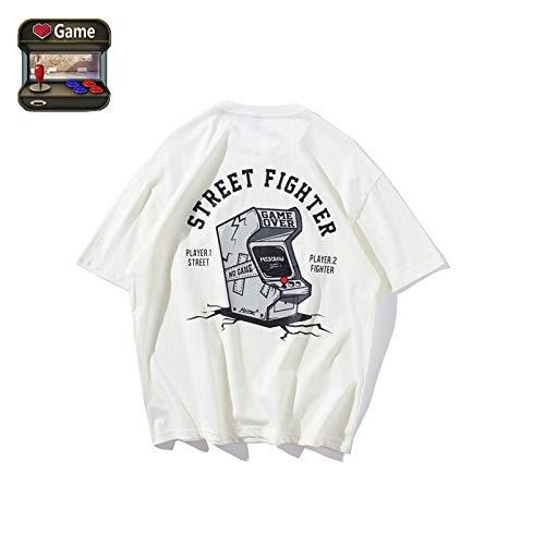 ROYWY T-Shirt Pour Homme, Col Rond DéContractéà Manches Courtes, Tee-Shirt De Jeu, Street Fighter, ModèLe De Machine De Jeu/white/L