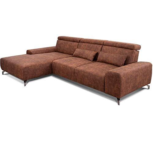 CAVADORE Eckcouch Gizmo / Leder-Sofa in L-Form mit großem Longchair, verstellbaren Sitzen und Kopfteilen / 289 x 82 x 178 / Mikrofaser, cognac