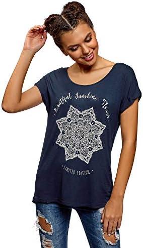oodji Ultra Mujer Camiseta de Viscosa con Estampado