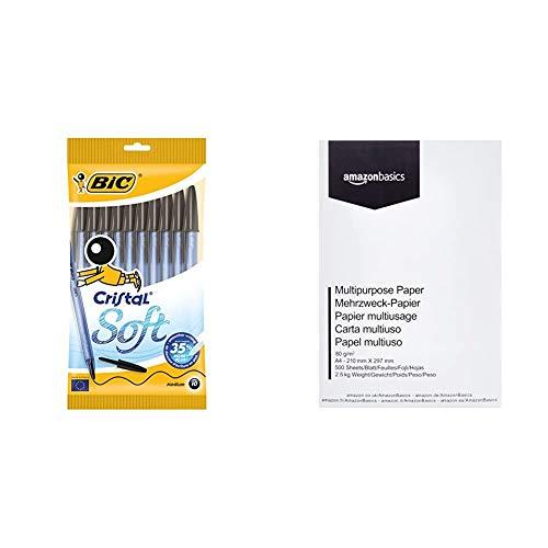 Bic Cristal Soft Punta Media 1,2 mm Confezione 10 Penne Colore Nero & Amazon Basics Carta da stampa multiuso A4 80gsm, 1 risma, 500 fogli, bianco
