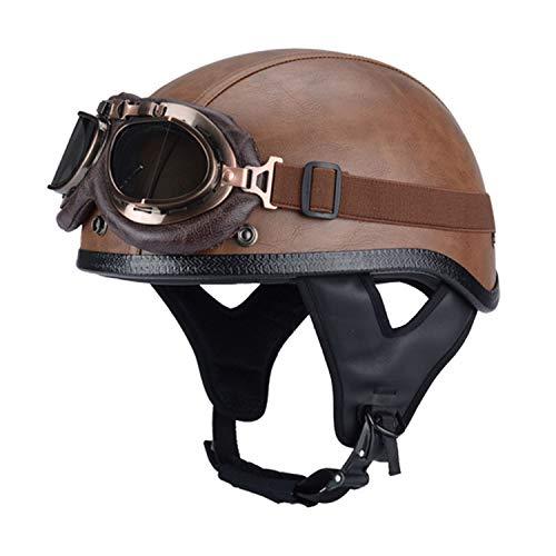 Personalidad Vintage Casco de la Motocicleta con Gafas de Sol, ABS + cuero artificial,Casco Vintage Casco De Bicicleta Casco De Moto para Hombres y Mujeres, ECE Homologado H,S