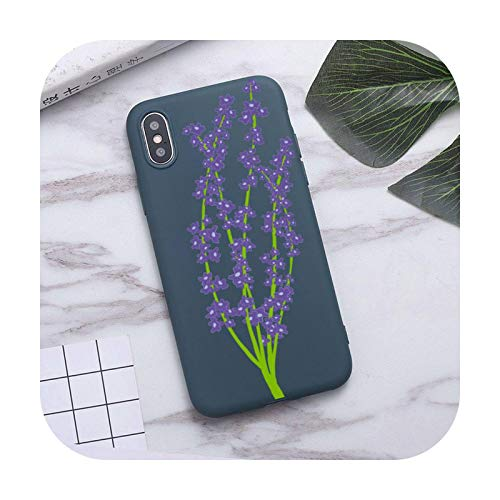 fashion flower Phone Case For iPhone XS MAX 11 Pro X XR 7 8 6 Plus Candy Color blue Soft Silicone Cover-a9-For iphone XR