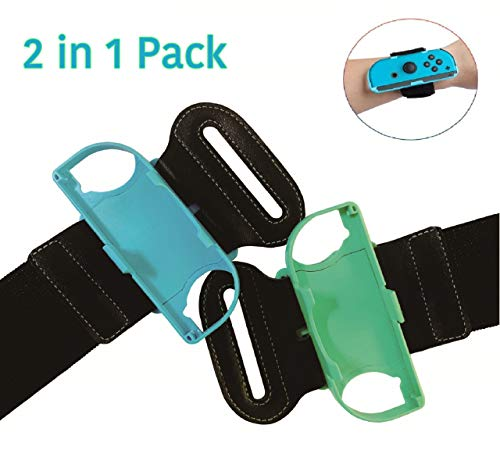Techrum Armband für Just Dance 2021 2020 Nintendo Switch, Einstellbare Elastische Armbänder für Joy-Cons (Animal Crossing Blue and Green)