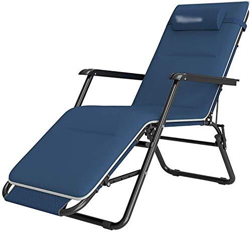 Silla tapizada de Gravedad Cero, terraza Tumbona Regulable y Ajustable al Aire Libre Silla de salón (se Puede inclinar 180 °) (Azul)