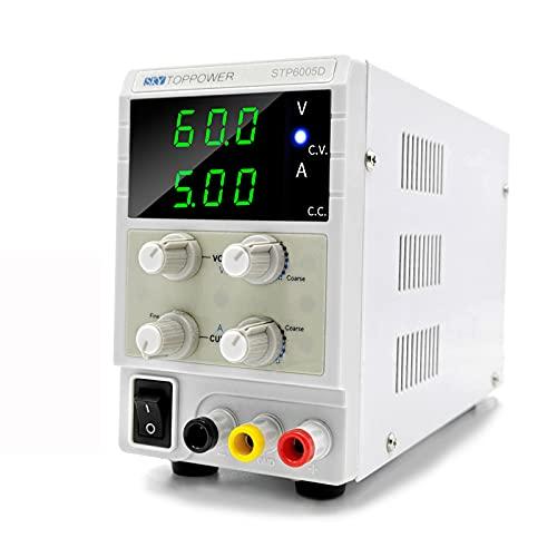 Fuente de Alimentación de Banco 0-60V/0-5A LED de 3 dígitos Ajustable CC/CV Alimentatore CC per insegnamento in laboratorio, riparazione elettronica,DIY,elettronica del veicolo,placcatura