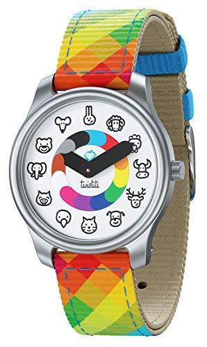 Twistiti Pädagogische Uhr für Kinder, Zifferblatt mit Tiersymbolen, Zeitmarkierungen, wasserdicht 50M, nachleuchtend, Easy-Clip Uhrenarmband