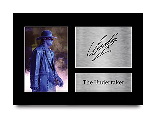 HWC Trading The Undertaker Gift Handtekeningen A4 Printed Wwe Wwf Gifts Fight Druk Foto Beeldscherm
