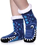 TRUEHAN Kids Girls Boys Slipper Socks Soft Thick Cozy Fuzzy Animal Anti-Slip Winter Thermal Christmas Socks Indoor (Blue Crocodile F, 4-7 Years)