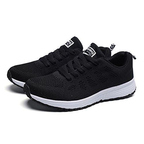WOZOW Sneakers Mode Féminine Maille Bretelles Rondes Plats Chaussures de Course Chaussures Casual(37,Noir)