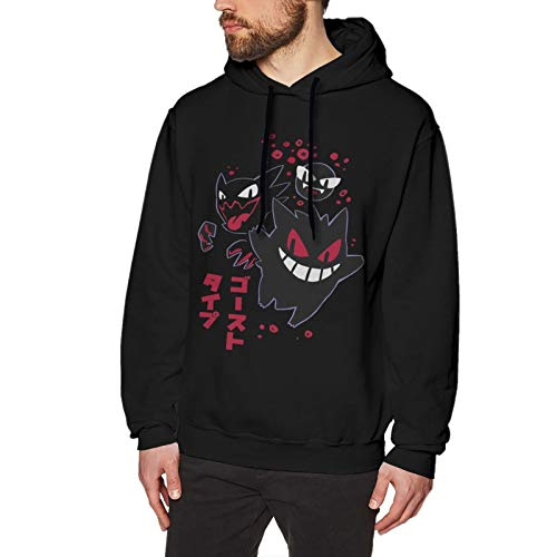 Men's Gengar Fashion Cosplay Hooded Hoodie Long Sleeve Pullover Sweater Costume XX-Large Black