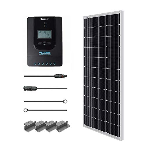 Renogy 100W 12V Monocrystalline Solar Starter Kit with 20A Rover MPPT Charge Controller